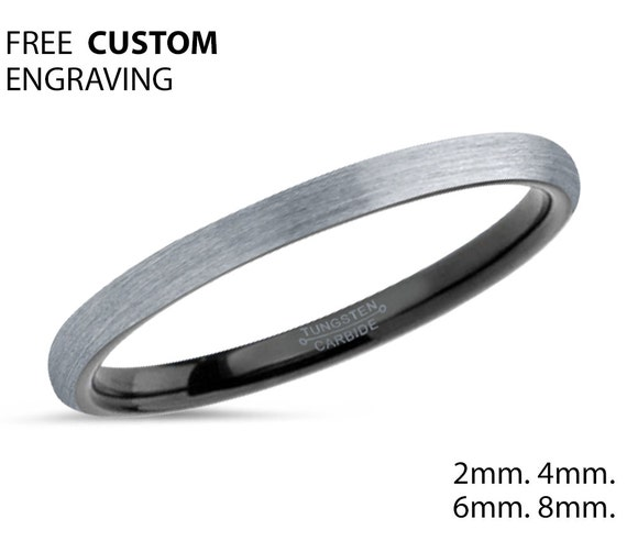 Tungsten Wedding Band,2mm Tungsten Ring,Brushed Silver Black Tungsten Wedding Ring,Anniversary Band,Engagement Ring,Ladies ,Unisex,Matching