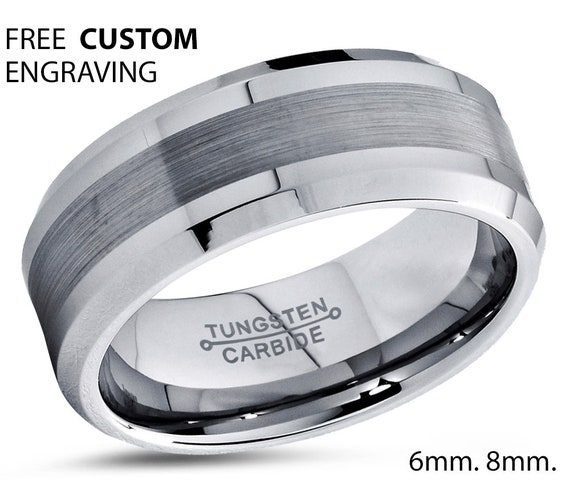 Tungsten Silver Wedding Band, Tungsten Ring, Brushed Polish, Anniversary, Engagement, His,Hers, Rings for Men, Promise Ring, Matching