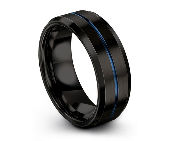 Mens Wedding Band, Tungsten Ring Black Blue 8mm, Wedding Ring, Engagement Ring, Promise Ring, Personalized, Rings for Men, Rings for Women