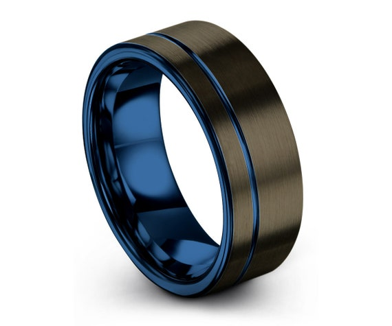 Gunmetal Black Mens Wedding Band | Blue Interior Tungsten Carbide Ring 6mm, or 8mm available | His or Her with Fast Free Shipping