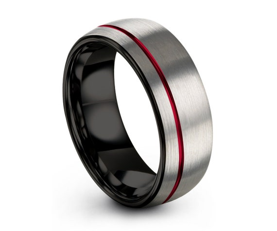 Mens Wedding Band Silver, Black Tungsten Ring with Offset Red Line 8mm, Wedding Ring, Engagement Ring, Promise Ring, Personalized Ring
