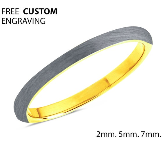 2mm 5mm 7mm 18k Gold Tungsten Wedding Band, Ladies Tungsten Ring, Gold Ring, Anniversary Band, Comfort Fit, Engagement Ring, Promise Ring