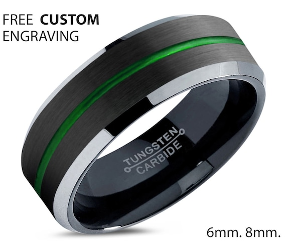 Unique Unisex Tungsten Wedding Band - His & Hers Black Promise Ring - Silver Edges - Free Custom Personalized Engraving - 6mm 8mm