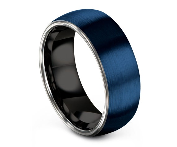 Tungsten Carbide Wedding Band Blue | Tungsten Ring 8mm | Mens Black Ring | Brushed Domed Silver Tungsten Ring | Customized Gift | Size 4-15