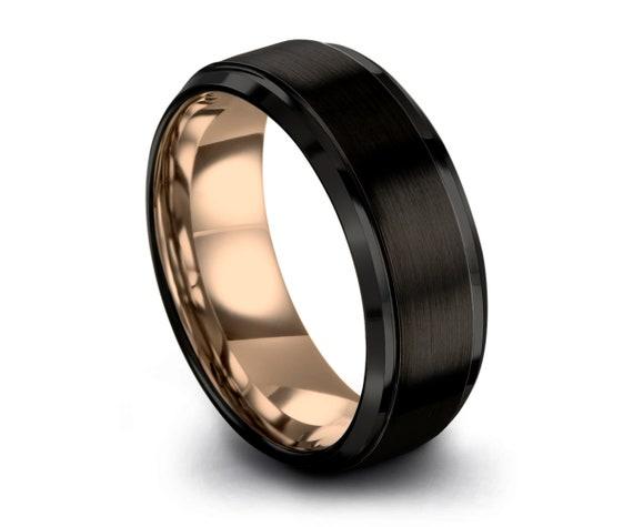 Black Tungsten Ring Rose Gold Wedding Band Ring Tungsten Carbide 6mm 18K Tungsten Ring Man Wedding Band Male Women Anniversary Matching
