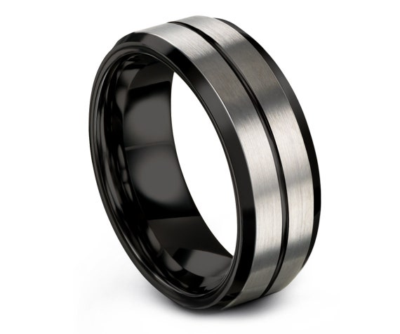 Mens Wedding Band Black | Silver Brushed Tungsten Ring | Perfect Engagement Ring | Tungsten Ring 8mm | Rings for Men | Personalized Band