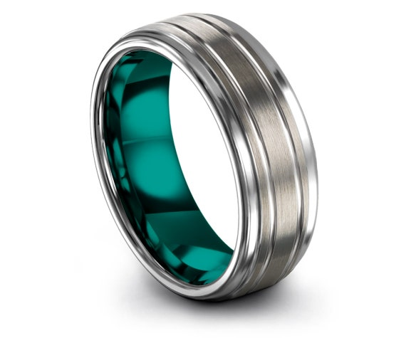 Gifts For Him,Couple Matching Rings,Wedding Band Tungsten Teal,Double Line Engraved Ring,Tungsten Promise Ring,Mens Silver Ring,All Size
