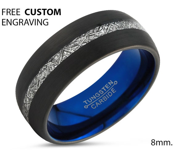 Black Meteorite Tungsten Ring for Men & Women | Unique Blue Interior Personalized Wedding Band | Promise Engagement Gift