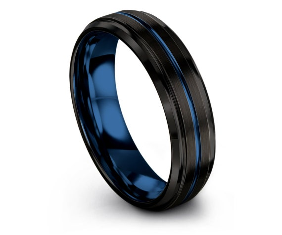 Wedding Band Black | 4mm 6mm 8mm 10mm | Personalized Gifts | Blue Line | Beveled Engagement Ring | Promise Ring | Rings for Men | Rings