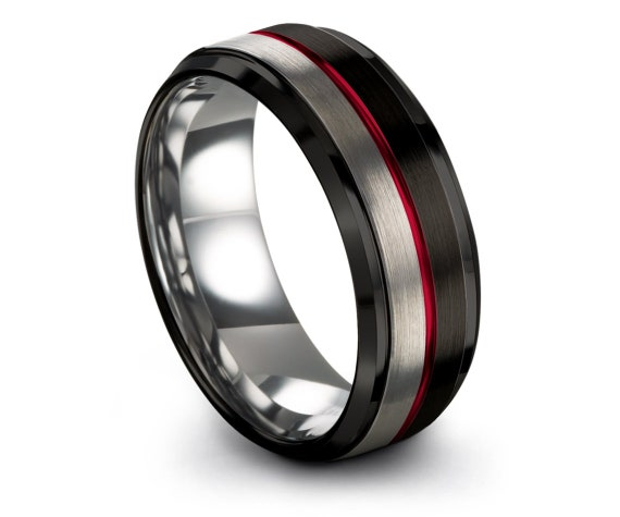 Gifts For Husband,Mens Women Wedding Band Black,Beveled Silver Tungsten Ring,Center Line Engraving Red,Ring For Him,Minimalist Jewelry
