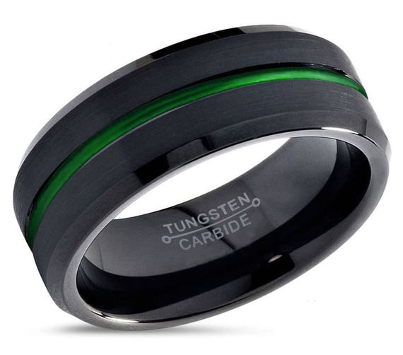 Mens Wedding Band Black, Tungsten Ring Green 8mm, Wedding Ring, Engagement Ring, Promise Ring, Personalized Ring, Rings for Men