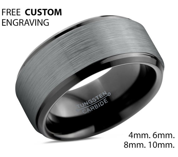 Mens Wedding Band, Wedding Ring Black 4mm 6mm 8mm 10mm, Tungsten Ring Brushed Silver, Engagement Ring, Promise Ring, Rings for Men, Black