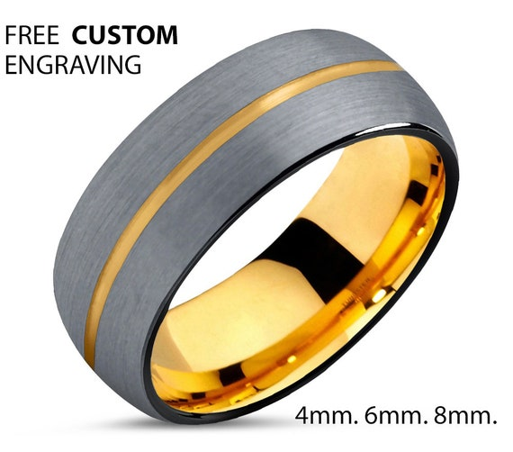 18k Yellow Gold 8mm Wedding Band Ring, Brushed Silver Black Tungsten Ring, Tungsten Carbide Tungsten Ring, Male Women Anniversary Matching