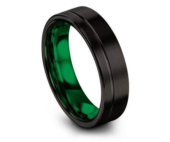 Luxury Wedding Band Black,Mens Ring,Tungsten Wedding Ring Green,Off Center Engraving,Engagement Ring,Promise Ring,Wedding Signs,Gifts