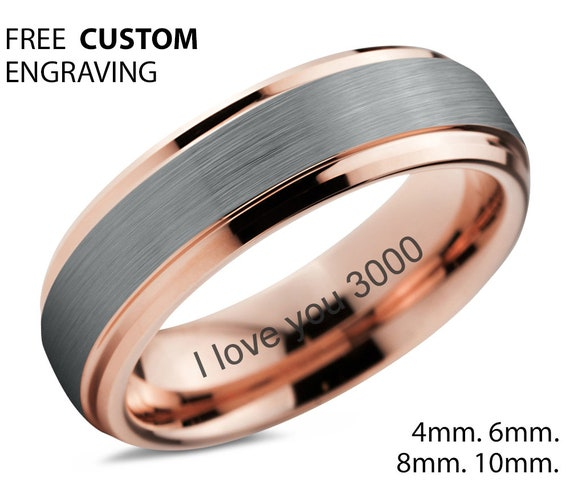 I love you 3000 18k Rose Gold Wedding Band | Unisex Wedding Band for Men & Women | Personalized