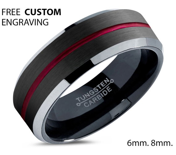 Black Tungsten Wedding Band for Men & Women With Red Center Line - Hypoallergenic Wedding Ring - Personalized Gift for Mothers / Fathers Day