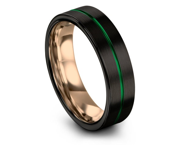 Men's Tungsten Wedding Band Green, Black His and Hers Wedding Bands, Rose Gold Ring, Tungsten Ring 6mm, Center Engraving, Gifts for Him