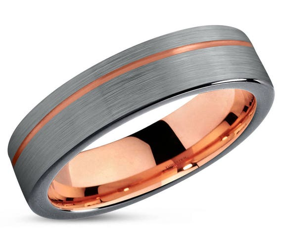 Mens Wedding Band Brushed Silver Tungsten Rose Gold 4mm 18k Etsy