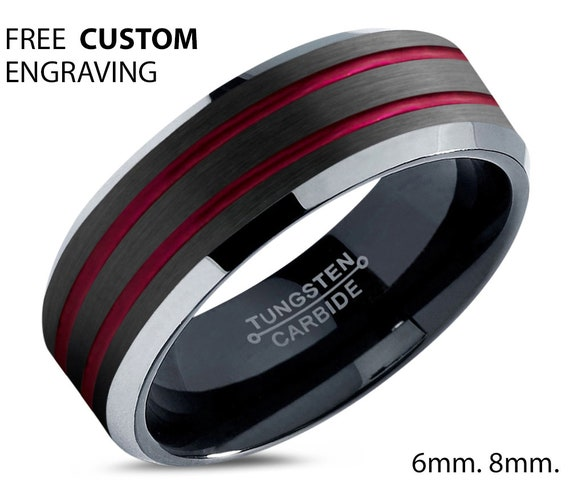Black and Double Red Line Polished Tungsten Wedding Band - Unisex Wedding Ring- Free Custom Personalized Engraving - Perfect Gift Idea