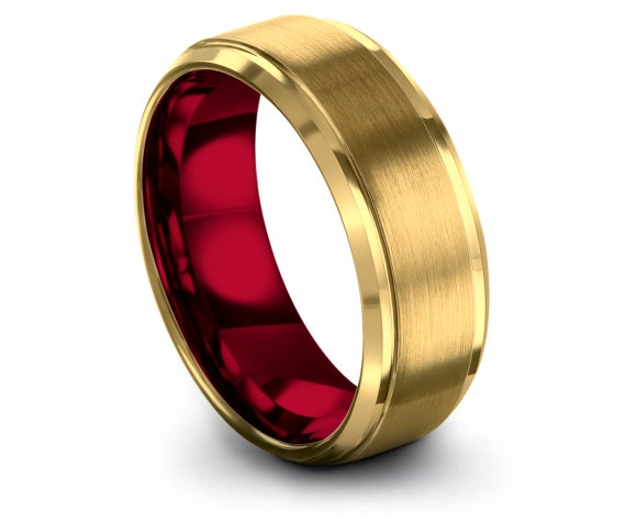 Mens Ring,Yellow Gold and Red Tungsten Ring,Wedding Ring Set,Tungsten Band For Men,Tungsten Carbide Band,Anniversary Gifts,Gifts for Him
