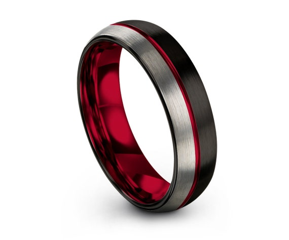 Mens Wedding Band Red, Black Tungsten Ring, Brushed Silver Wedding Ring, Engagement Ring, Promise Ring, Rings for Men, Rings for Women