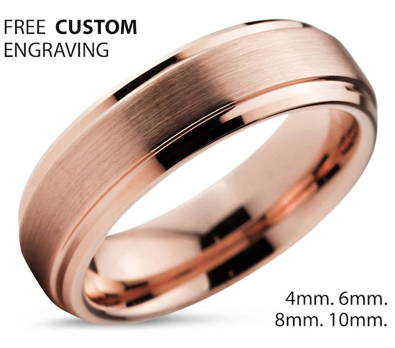 Tungsten Ring Rose Gold, Wedding Band, Tungsten Carbide, 10mm 8mm 6mm 4mm 18K, Mens, Women, Engagement, Gift, Rings for Men, Promise Ring