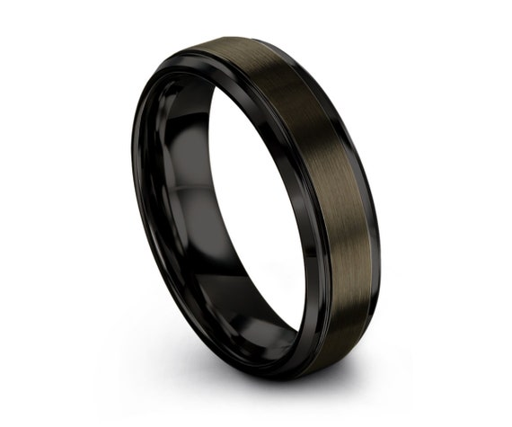 Tungsten Wedding Band, Gunmetal Tungsten, Beveled Black Edges, Engagement Ring, Men's Tungsten, Anniversary, 6mm , Matching, Ring Set