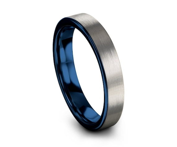 Tungsten Ring Blue, Minimal Ring, Wedding Ring 2mm 4mm 6mm 8mm, Engagement Ring, Promise Ring, Rings for Men, Rings for Women, Silver Ring