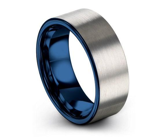 Tungsten Ring Mens Blue Wedding Band Tungsten Ring Tungsten Carbide 8mm Tungsten Man Wedding Male Women Anniversary Matching All Sizes