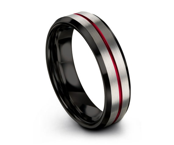 Mens Black Wedding Band, Tungsten Ring Red Line Brushed Silver 4mm, Wedding Ring, Engagement Ring, Promise Ring, Personalized, Gift Idea
