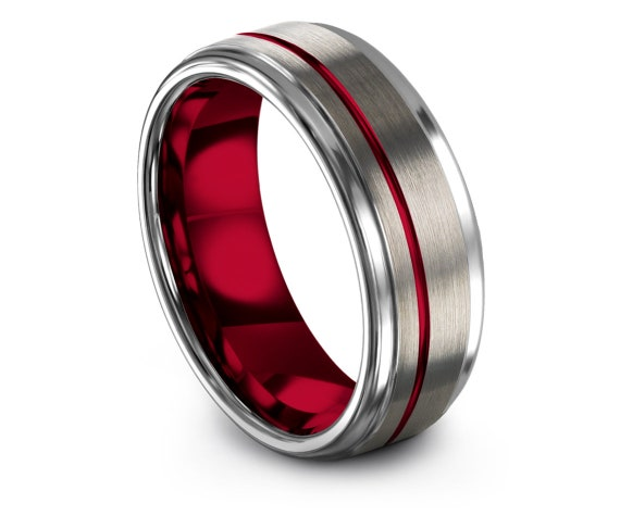 Red and Silver Wedding Band 8mm, Step Edge Brushed Tungsten Ring, His and Hers Ring, Engrave Personalized Rings, Gift For Her, Fast Shipping