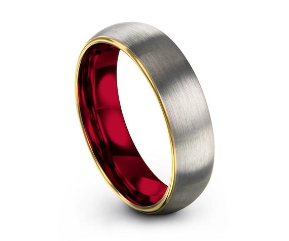 Mens Wedding Band, Brushed Yellow Gold Wedding Ring, Tungsten Ring 5mm 18K, Engagement Ring, Promise Ring, Rings for Men, Rings for Women