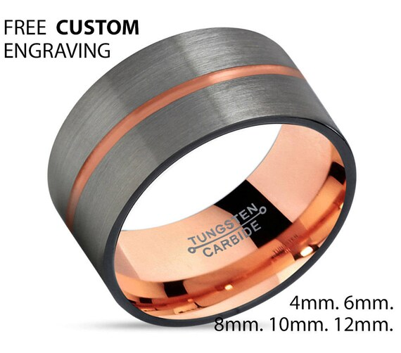 GUNMETAL Tungsten Ring, Mens Wedding Band Rose Gold 18K 12mm, Wedding Rings, Engagement Ring, Promise Ring, Rings for Men, Gold Ring