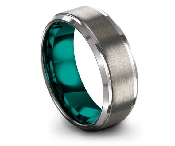 Personalized Band, Wedding Gifts, Silver Wedding Band, Mens Silver Rings, Gift For Couple, Teal Tungsten Ring Set, Customizable Ring, 8mm