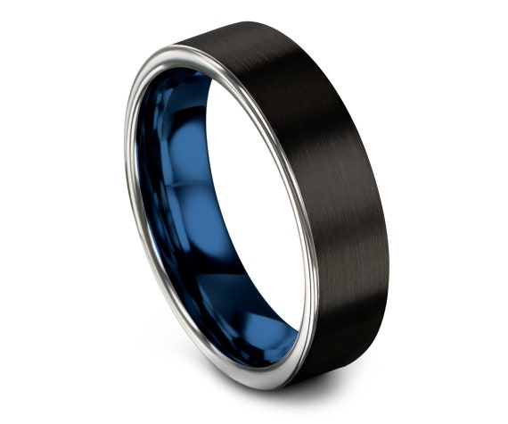 Black Brushed Tungsten Wedding Band Men, Personalized Rings, His and Hers, Silver Blue Tungsten Carbide Wedding Band, Matching Rings