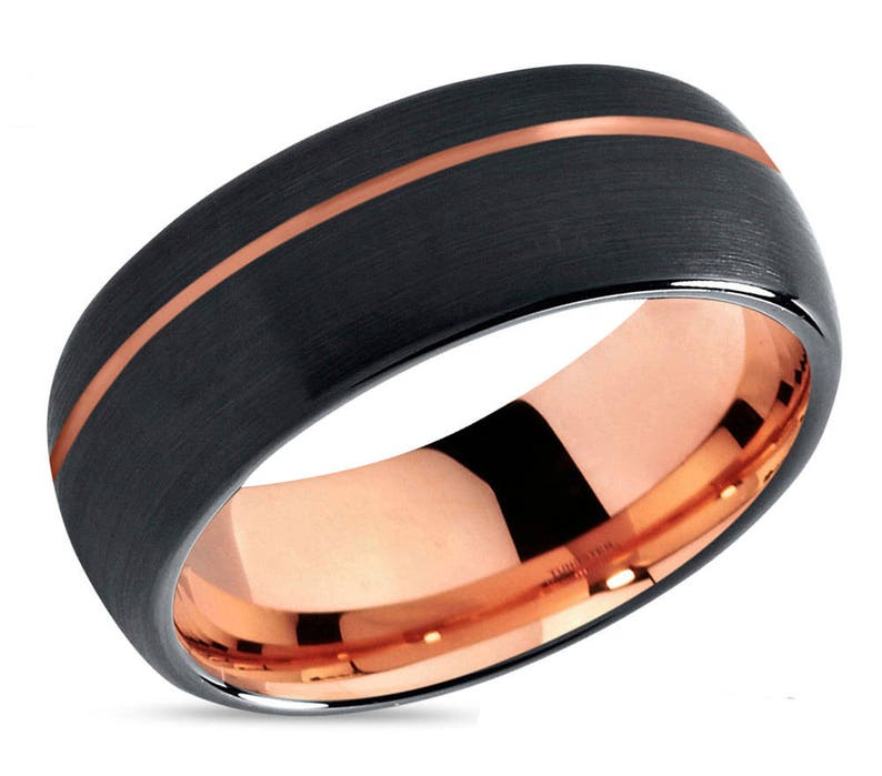 Mens Wedding Bands Tungsten.Mens Wedding Band Black Rose Gold Wedding Ring Tungsten Ring 8mm 18k Engagement Ring Promise Ring Rings For Men Rings For Women