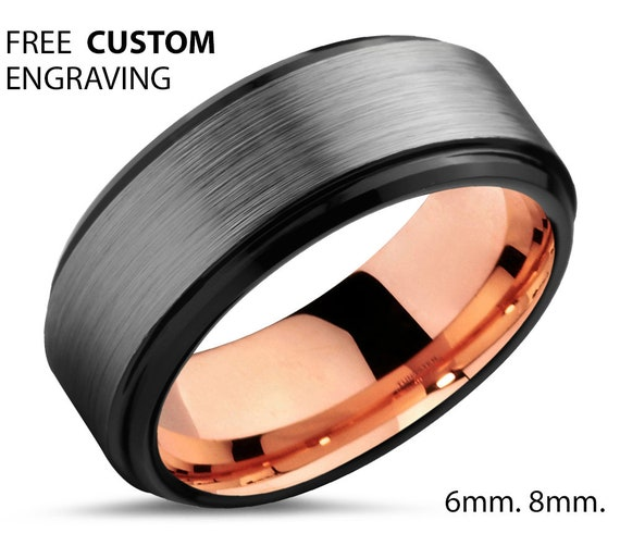 Rose Gold Brushed Dark Grey Mens Wedding Band, Black Step Bevel Ring Free Custom Engraving with Fast Shipping, Great for Him or Her Gifts