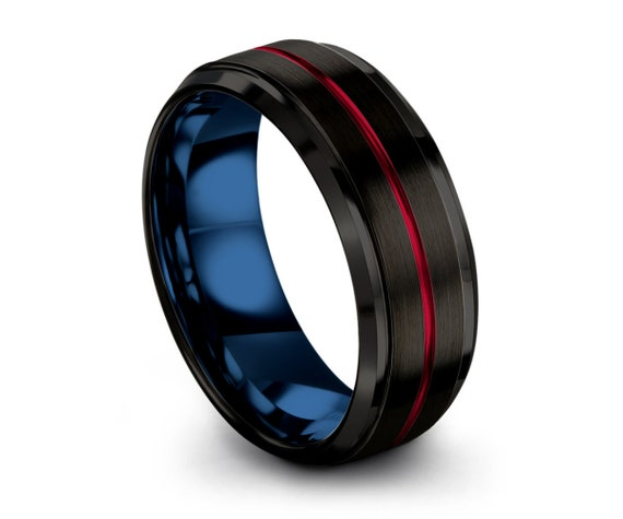 Tungsten Ring Mens Blue Black Red Wedding Band Tungsten Ring Tungsten Carbide 8mm Tungsten Man Wedding Male Women Anniversary Matching