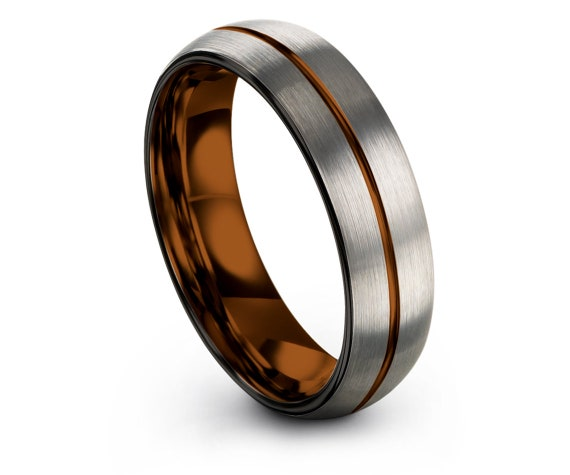 Ring for Women, Wedding Set, Silver Brushed Domed Tungsten Wedding Ring, Black Edge With Center Copper Line Engraved Ring, Free Shipping