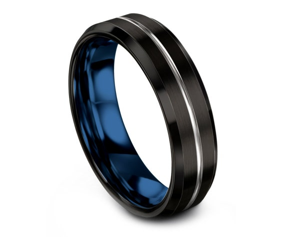 Tungsten Wedding Band Blue,His and Hers Wedding Band Set,Silver and Black,Thin Silver Line Engraving Ring,Couple Ring,Rings for Women,6mm.