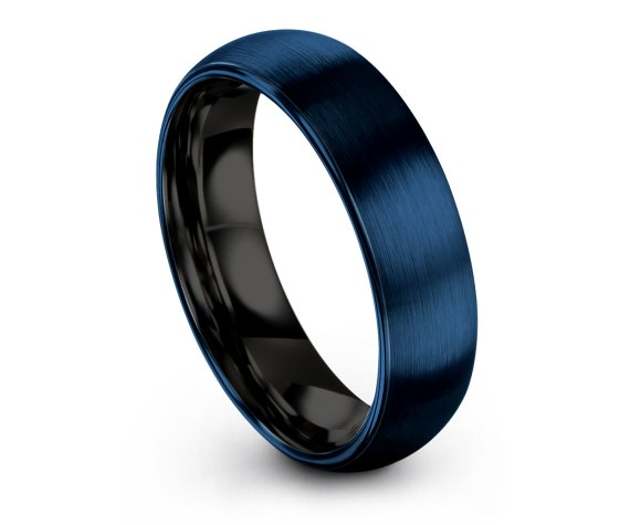 Blue Tungsten Ring Domed, His and Hers Rings, Wedding Bands Women, Black Tungsten 8mm Rings, Custom Ring, Idea For Gift, Free Shipping