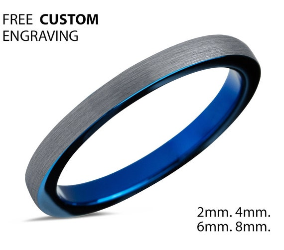 Tungsten Ring Blue, Wedding Ring 2mm 4mm 6mm 8mm, Blue Ring, Engagement Ring, Promise Ring, Rings for Men, Rings for Women, Silver Ring