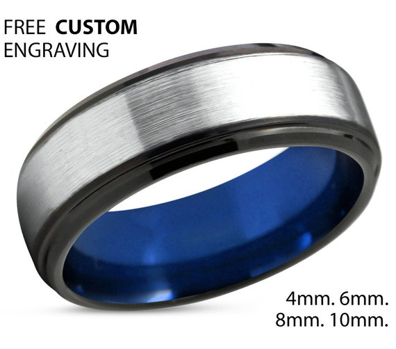 Mens Wedding Band Silver, Tungsten Ring Blue 8mm, Wedding Ring, Engagement Ring, Promise Ring, Rings for Men, Rings for Women, Silver Ring