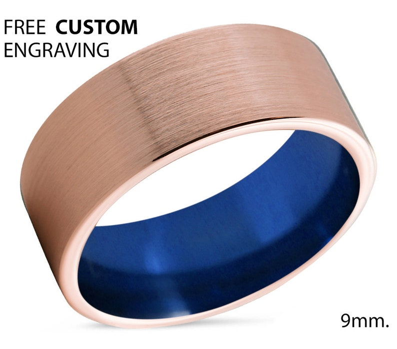 Rings for Men Mens Wedding Band Blue Tungsten Ring Rose Gold 18K Engagement Ring Gold Ring Personalized Promise Ring Wedding Ring