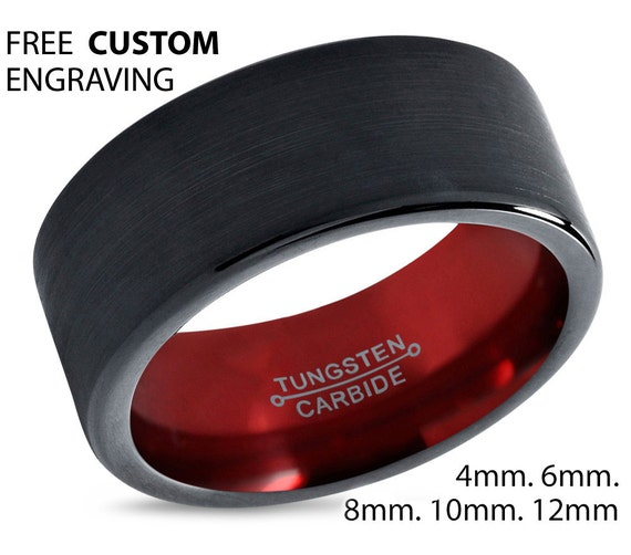 Mens Wedding Band Black, Tungsten Ring Red 8mm, Wedding Ring, Engagement Ring, Promise Ring, Rings for Men, Unique Ring, Black Ring