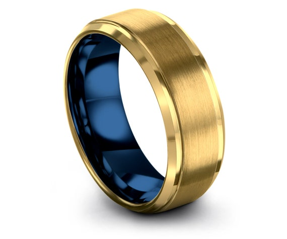 Mens Gold Wedding Band,Blue Tungsten Ring,Wedding Gifts,18k Yellow Gold Plated,Fathers Day Gift,Gift For Her, Gift For Papa,Free Shipping