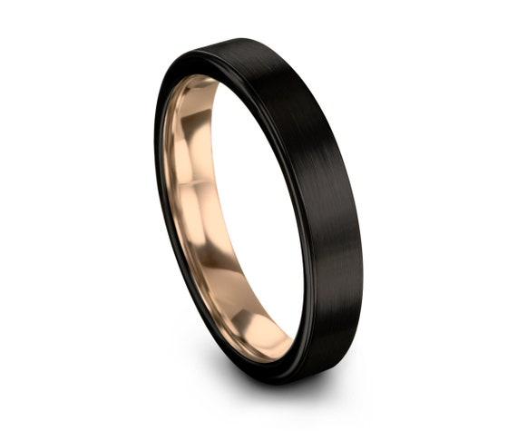 Black Tungsten Ring, Rose Gold Wedding Band, Tungsten Carbide 4mm 18K, Mens, Wedding, Women, Anniversary, Matching, Gifts for Him