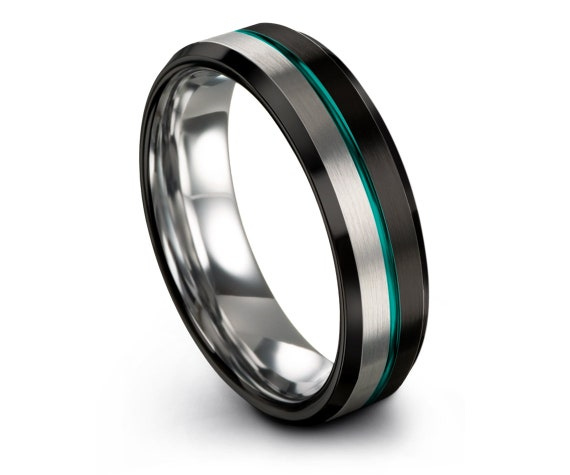 Mens Wedding Ring Black | Silver Tungsten Ring for Men | Teal Engravable Wedding Band | Thin Line Band | Personalized Ring | Gifts for Him