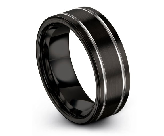 Minimalist Wedding Band | Tungsten Wedding Band | Black Tungsten Ring | Thin Silver Double Engraving | Rings for Men | Personalized Ring