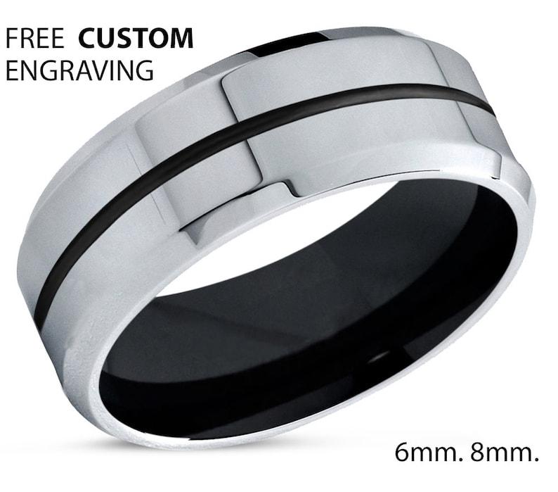 Rings for Women Engagement Ring Black Tungsten Wedding Ring 8mm Mens Wedding Band Silver Promise Ring Rings for Men